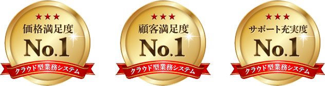 価格満足度No.1 顧客満足度No.1 サポート充実度No.1